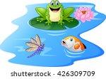 Cute Green Frog Cartoon On A...