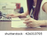 close up focus woman hand write ... | Shutterstock . vector #426313705