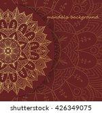 gold mandala on a brown... | Shutterstock .eps vector #426349075