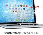 shopping cart on laptop. 3d... | Shutterstock . vector #426371647