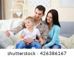 happy family making selfie with ... | Shutterstock . vector #426386167
