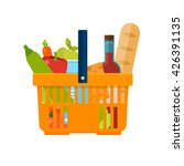 shopping basket with foods.... | Shutterstock .eps vector #426391135