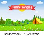 tourist tent and green blossom... | Shutterstock .eps vector #426405955