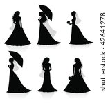 set of vector silhouettes of a... | Shutterstock .eps vector #42641278