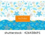 vector seamless border with sea ...