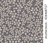 Stock vector seamless ivory pattern with flowers on dark gray background 426468727