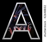 One letter from firework with chrome frame alphabet set, isolated on black. Computer generated 3D photo rendering. - stock photo
