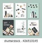 a set of cards on his birthday. ... | Shutterstock .eps vector #426513145