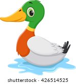 funny cartoon duck swimming | Shutterstock . vector #426514525
