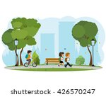 happy little kids going to... | Shutterstock .eps vector #426570247