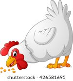 cartoon chicken eating seeds | Shutterstock . vector #426581695