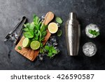 Stock photo mojito cocktail making mint lime ice ingredients and bar utensils top view 426590587