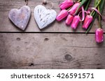 Bright Pink Spring Tulips  And...