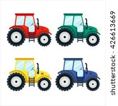 Colorful Tractors On White...