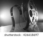 Reel Of Film On A Black White...