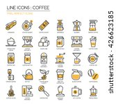 coffee   thin line and pixel... | Shutterstock .eps vector #426623185