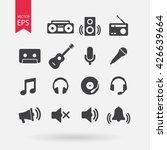 music icons set  audio...