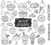 doodle set with sweet cupcakes  ... | Shutterstock .eps vector #426672589