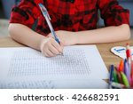 little girl learning to draw at ... | Shutterstock . vector #426682591