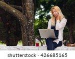 shot of an attractive blonde... | Shutterstock . vector #426685165
