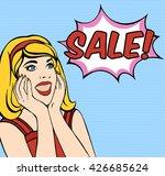 surprised woman pop art. woman... | Shutterstock .eps vector #426685624