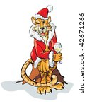 christmas tiger | Shutterstock .eps vector #42671266