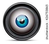 blue eyeball inside the camera...   Shutterstock .eps vector #426753865