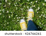 Yellow Sneakers In A Daisy...