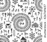 warli painting seamless pattern ... | Shutterstock .eps vector #426769657
