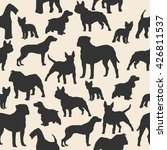 Stock vector dogs silhouette colorful seamless pattern airedale french bulldog cocker spaniel bull mastiff 426811537