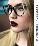 Beautiful Girl With Glasses An...