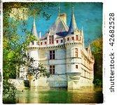 castles of Loire valley -retro series - stock photo