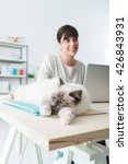 Stock photo lovely cat sleeping on office files on a desktop a woman is sitting at desk and working with a 426843931