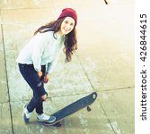 awesome skateboarder girl with... | Shutterstock . vector #426844615