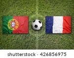 portugal vs. france flags on a...   Shutterstock . vector #426856975