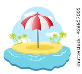 striped beach umbrella on sandy ... | Shutterstock .eps vector #426857005