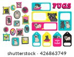 set with cute pugs.  printable... | Shutterstock .eps vector #426863749