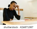 thoughtful worried african or... | Shutterstock . vector #426871387