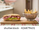 ham sandwich with fried...   Shutterstock . vector #426879631