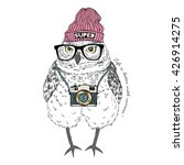 cute owl boy hipster with photo ... | Shutterstock .eps vector #426914275