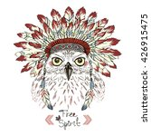 Portrait Of Owl In War Bonnet ...