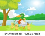 Cartoon Duck Family On The...