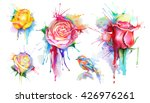 watercolor roses  set of vector ...