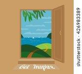 open door. seaside panoramic... | Shutterstock .eps vector #426983389