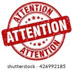 Attention Red Grunge Round...
