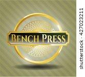 bench press shiny badge   Shutterstock .eps vector #427023211
