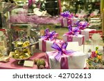 Gift boxes and sweets in shop...