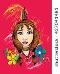 american indian girl. hand... | Shutterstock .eps vector #427041481