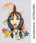 american indian girl. hand... | Shutterstock .eps vector #427041484