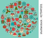 doodle vector icons merry... | Shutterstock .eps vector #427049101